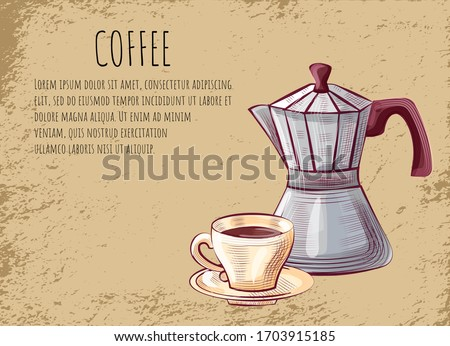Coffeehouse Poster, Moka Pot for Brewing Espresso Stock photo © robuart