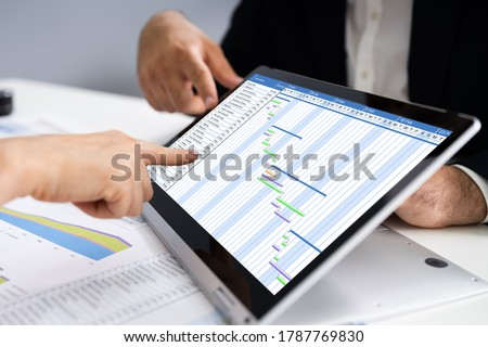 Convertible Laptop With Gantt Software Chart Stock photo © AndreyPopov