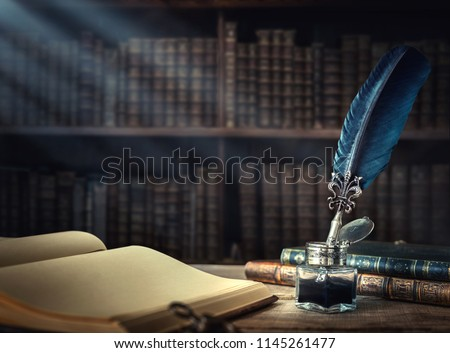 Old book and pen Stock photo © mikdam