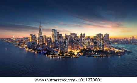 Manhattan panorama zuiden New York business hemel Stockfoto © jarin13