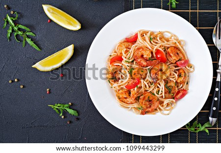 Shrimps with spaghetti Stock photo © Saphira