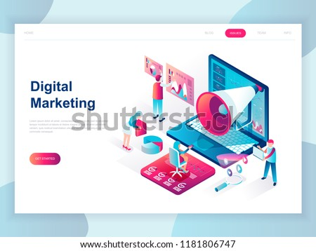 Business research - modern isometric vector website header Stock photo © Decorwithme