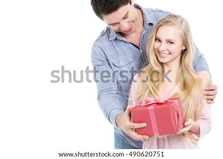 Hombre esposa presente Navidad ambos beber Foto stock © Kzenon