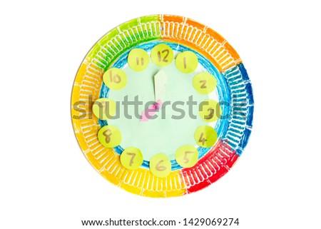 Colorido criança relógio indicação isolado branco Foto stock © szefei
