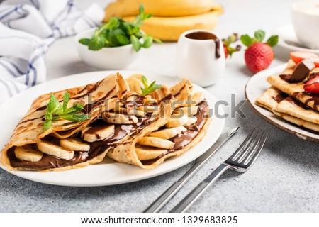 Csokoládé krém közelkép vacsora tányér reggeli Stock fotó © Alex9500
