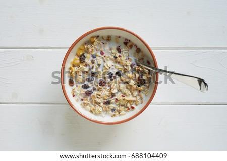 muesli with milk stock photo © shawnhempel