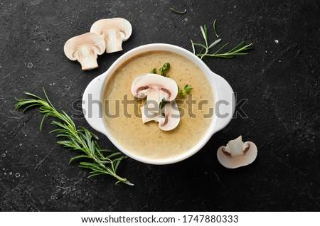 champignon · gomba · krém · leves · tál · felszolgált - stock fotó © juniart