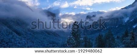 Clouds and Fog Move in Covering Half Dome Yosemite Stock photo © cboswell