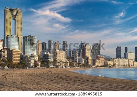 пляж · морем · мнение · синий · Средиземное · море · здании - Сток-фото © lunamarina