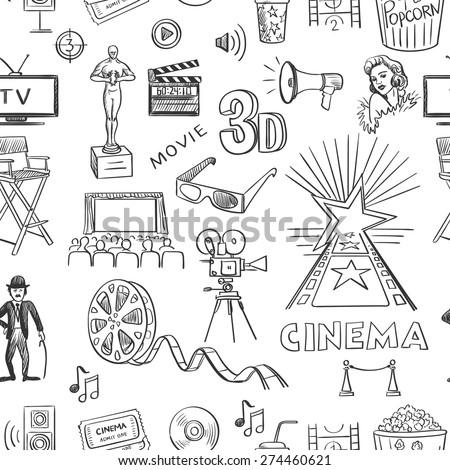 商业照片: 手工绘制 · 电影院 · 模式 · 向量 · 对象 · 符号