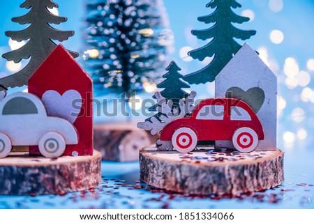 Christmas fir tree over wooden backdrop Stock photo © karandaev