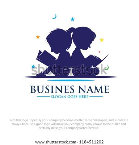 Jongen student school logo-ontwerp illustratie gelukkig Stockfoto © colematt