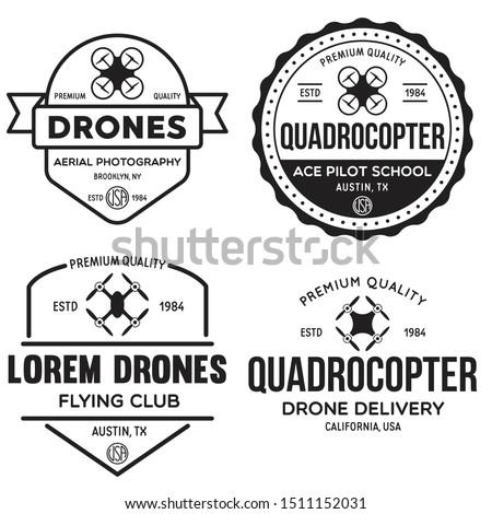 Vintage Quadrocopter emblems Stock photo © netkov1