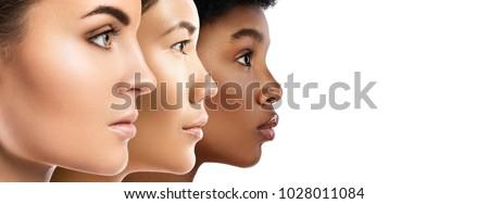 Nő szépség arc portré izolált fehér Stock fotó © serdechny