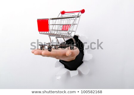 Hands Holding Paper With Cutout Shopping Cart Stock photo © AndreyPopov