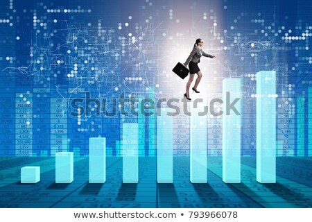 businesswoman climbing bar chart in economic recovery concept stock photo © elnur
