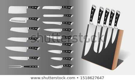 Set of professional knives on magnetic holder, rack Stock photo © MarySan