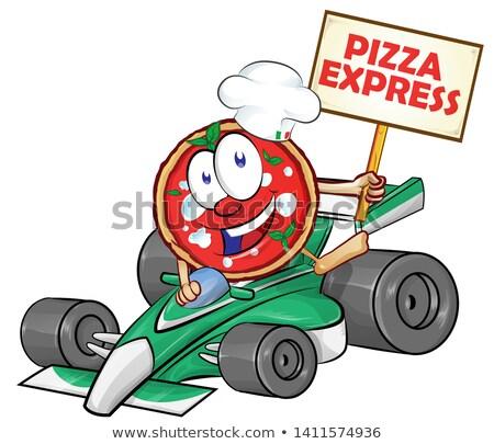 funny cartoon formula race car with pizza Stock photo © doomko