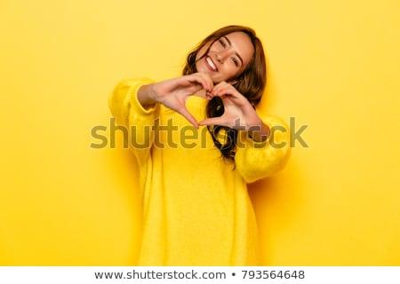 幸せ 女性 黄色 笑顔の女性 座って 孤立した ストックフォト © lichtmeister