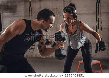 personal · trainer · adam · kadın · konuşma · uygunluk - stok fotoğraf © dolgachov