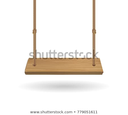 ストックフォト: White Wooden Swing Hanging On Ropes Vector Image