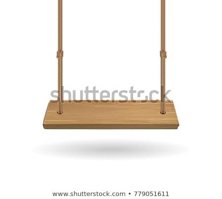 ストックフォト: 白 · 木製 · スイング · 絞首刑 · ロープ · ベクトル