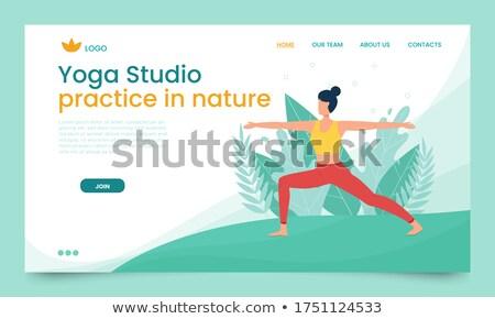 Yoga dag banner vrouw krijger pose Stockfoto © cienpies