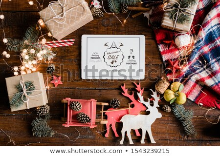 Christmas verkoop aankondiging display touchpad decoraties Stockfoto © pressmaster