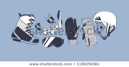 Winter Sports doodles illustration. Ski resort poster design Stock photo © balabolka