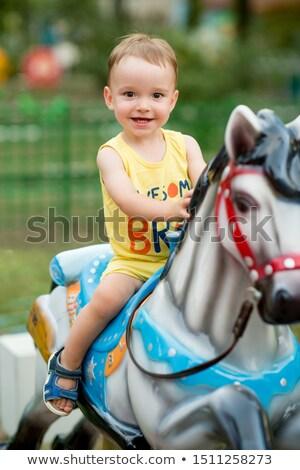 Jongen carrousel meisje kind bomen Stockfoto © 5xinc