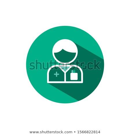 Pharmacist man icon with shadow on a green circle. Vector pharmacy illustration Stock photo © Imaagio