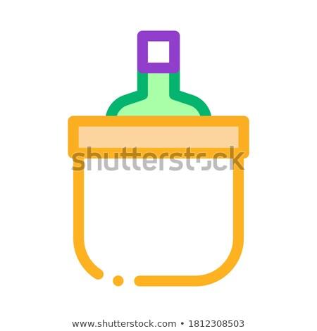Beber garrafa resfriamento balde ícone vetor Foto stock © pikepicture