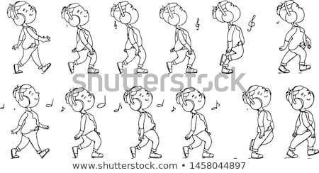 Coleção ouvir música adolescente ícones animação conjunto Foto stock © vasilixa