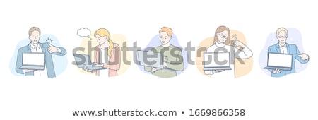 Ludzi laptop działalności wniosek pomysł wektora Zdjęcia stock © robuart