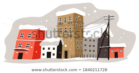 Winter Cityscape Street with Buildings Snowball Stock photo © robuart