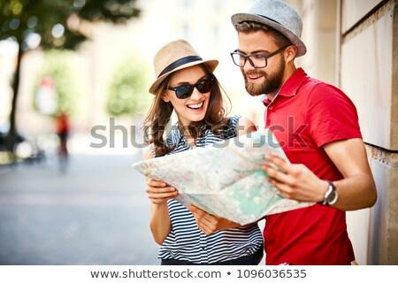 Feliz mulheres cidade guiá mapa verão Foto stock © dolgachov