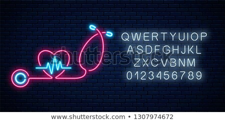 doctor with stethoscope neon signboard stock photo © -talex-