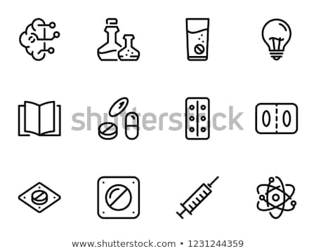 Bottle Pills Brain Icon Vector Outline Illustration Stock photo © pikepicture