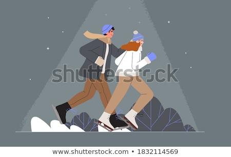 Paar winter park dating man vrouw Stockfoto © robuart