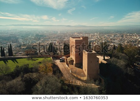 Aerial picturesque drone point of view Granada castle surroundin Stock photo © amok