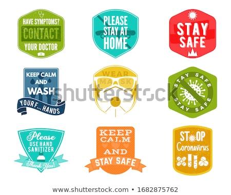 Koronawirus ostrożność odznaki kolekcja bezpieczeństwa rada Zdjęcia stock © JeksonGraphics
