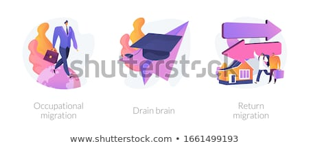 Students and employees emigration abstract concept vector illustrations. Stock photo © RAStudio