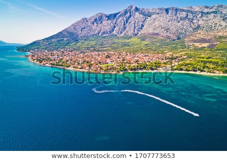 Aerial view of Town of Orebic on Peljesac peninsula waterfront Stock photo © xbrchx