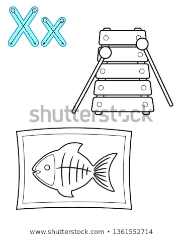Black and White Cartoon Illustration of Letter X alphabet for kids coloring book Stock photo © natali_brill