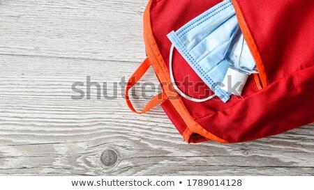 Okul malzemeleri maske kırmızı coronavirüs okula geri yeni Stok fotoğraf © Illia