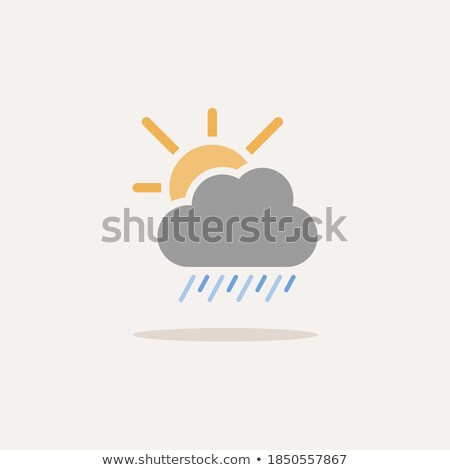 Heavy rain, cloud and sun. Icon. Weather glyph vector illustration Stock photo © Imaagio