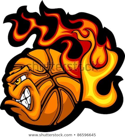 Stock foto: Flaming Basketball Face Vector Cartoon