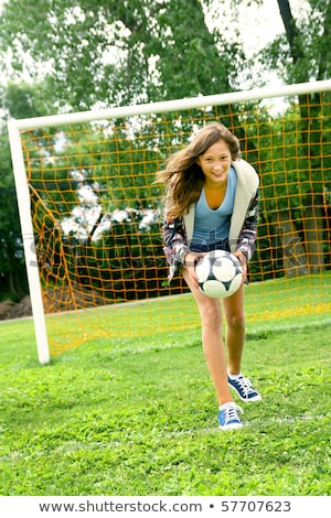 teenage girls have fun with soccer sports ball stock photo © darrinhenry