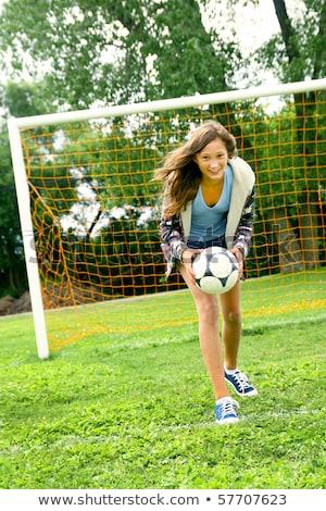 teenage girls have fun with soccer sports ball stock photo © darrinhenry