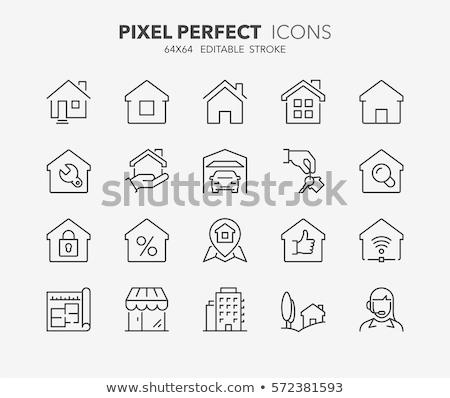 kéz · tart · kulcs · ház · ikon · üzlet - stock fotó © rufous